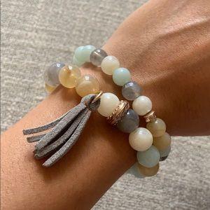Jewelry - Bead Bracelet Stack / Grey / Mint